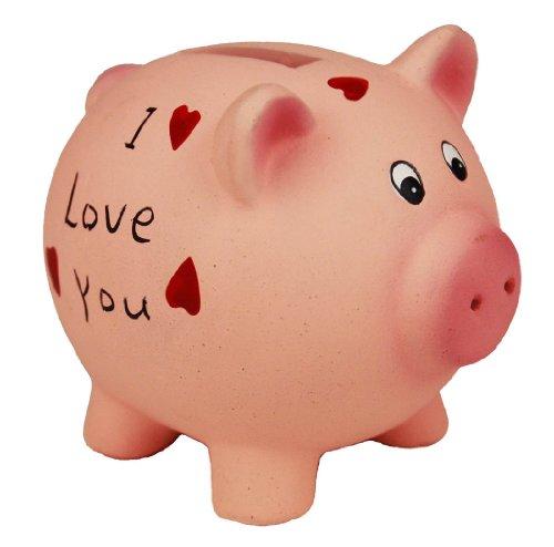HAAC Sparschwein Spardose Keramik mit Herz Herzen I love you 8 cm