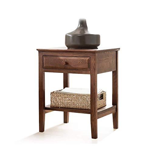 ZGONGLQQ nachtkastjes, houten notenlint met lade zijkast Amerikaanse stijl groene slaapkamer ladekast, geschikt voor: woonkamer/slaapkamer/studie, 48x41x58.5cm