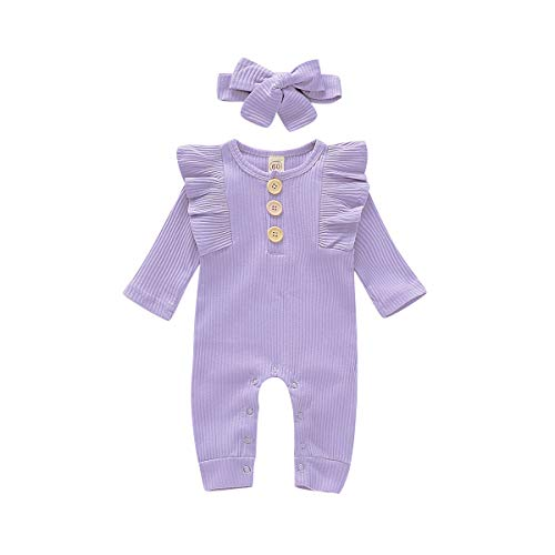 Toddler Baby Girls' Clothing Newborn Boy Outfits Ruffle Baby Girls Jumpsuit Toddler Girl Winter Clothes Toddler Boy Clothes (Purple, 12-18 Month)