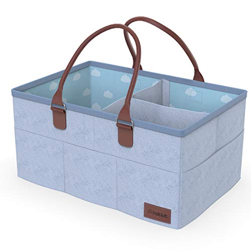 Baby Diaper Caddy Organizer - 15 x 10 x 7 - Nursery Storage Bin for Diapers, Toys, and Baby Essentials Gift Basket by Hat Bit - Light Grey