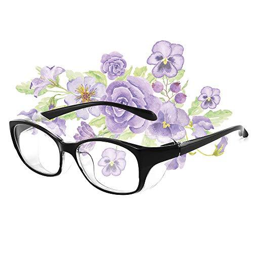 花粉防塵メガネ アイサポーター プロテクトフィット UVカット 目立たない 曇らない おしゃれ な 眼鏡 防塵メガネ 保護めがね (ブラック)