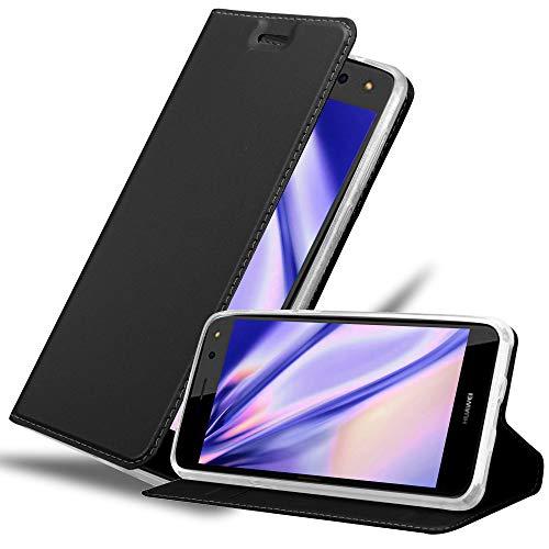 Cadorabo Hülle für Huawei Y6 2017 in Classy SCHWARZ - Handyhülle mit Magnetverschluss, Standfunktion & Kartenfach - Hülle Cover Schutzhülle Etui Tasche Book Klapp Style