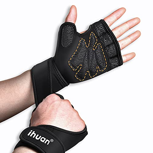 ihuan 2021 Ventilated Weight Lifting Gym Workout Gloves Full Finger with Wrist Wrap Support for Men & Women, Full Palm Protection, for Weightlifting, Training, Fitness, Hanging, Pull ups