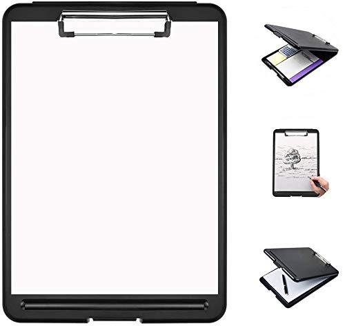BUZIFU Klemmbrett A4 Speicher Kunststoff Zwischenablage SlimMate Portable Desktop Klemmbrett mit Aufbewahrungsbox Klemmbrett-Box mit Innenfach für Studenten, Lehrer, Industrie, Office Professional