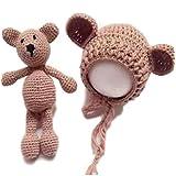 Sweet+ 赤ちゃん 撮影 小道具 ニューボーンフォト 月齢 誕生日 かわいい ニット帽 ぬいぐるみ 小物 テディベア セット (ブラウン)