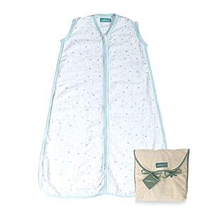 molis&co. Saco de Dormir para bebé 100% algodón. Ideal para Verano (0.5 TOG). Suavidad y frescor en una Sola Capa de Tejido. Ideal para los Meses de Verano. 6 a 18 Meses. Azul, Blue Sky.