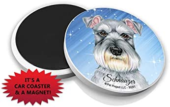 "SJT ENTERPRISES, INC Schnauzer 2.6"" Absorbent Stone Car Coasters - Set of 2 with Magnet in Back- Functions as Cute Magnet or Coaster- Features Artwork of Tomoyo Pitcher (SJT35261)"