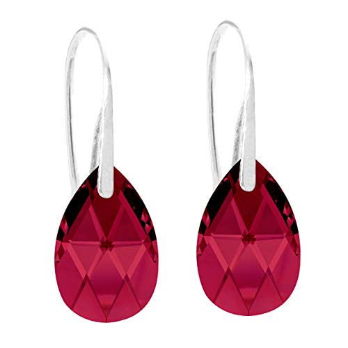 Ah! Jewellery Women's 16mm Ruby Pear Crystals Fish Hook Earrings. Sterling Silver, Stamped 925. 3gr Total Weight.