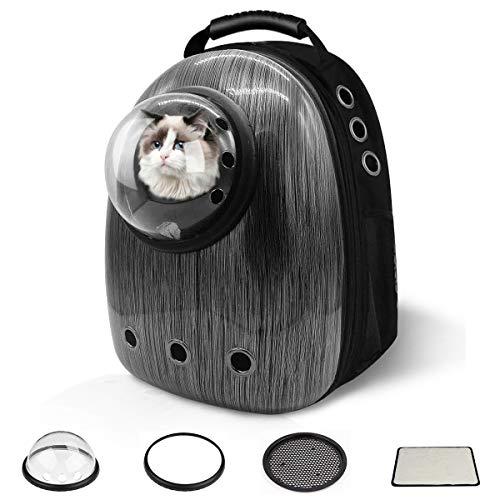 711Lighting Pet Backpack Reise-Tragetasche, Space Capsule Rucksack für Katzen Welpen Hunde Hase, wasserdichte Haustier-Tragetasche zum Wandern im Freien (schwarz)