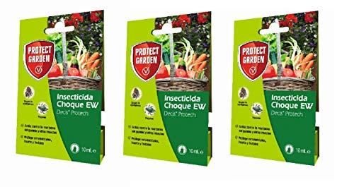 Protect Garden - Pack Profesional de 3 - Insecticida polivalente Concentrado para Ornamentales, frutales y horticolas, pulgones y orugas, 10ml