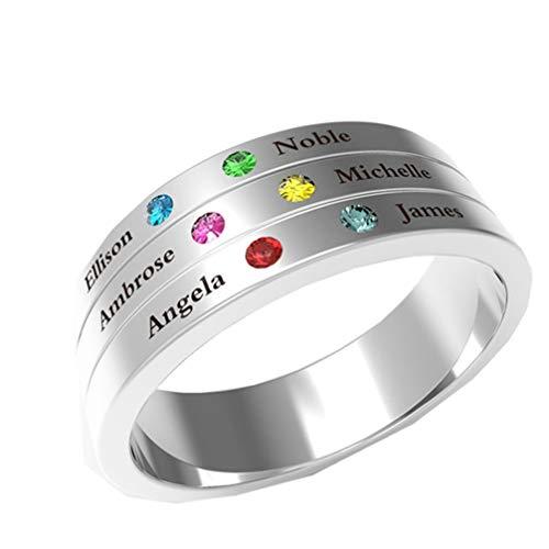 NA Personalisierter Familienring Graviert 6 Name & Geburtsstein Ring 925 Silber Benutzerdefinierter Namensring Versprechen Ring(Silber 55 (17.5))