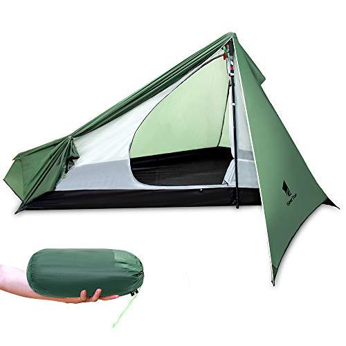 GEERTOP Upgrade Ultralight 3 Season 1 Personenzelt für Camping Backpacking Wandern Reisen - Zelte mit einem Trekkingstock (ohne den Stab) Einfach aufzubaue (Left Door)