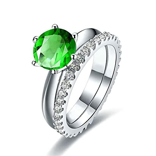KnSam Mujer Unisex plata de ley 925 plata redonda verde Cubic Zirconia