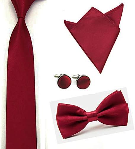 Men Solid Color Satin Bow Tie Necktie Handkerchief Pocket Square Cuff Link Set Color: Wine Red