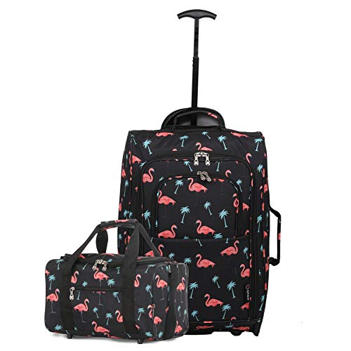 Ryanair Cabin Approved 55x40x20cm & Second 35x20x20 Hand Luggage Set - Carry On Both! (Black Flamingos)