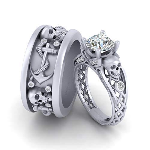 Anillo de compromiso con diseño de calavera de diamantes a juego para él y ella, oro blanco macizo de 14 quilates