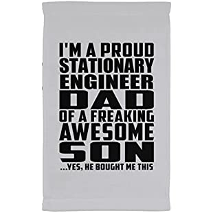 Designsify Dad Towel, I'm A Proud Stationary Engineer Dad Of A Freaking Awesome Son, He Bought Me This - Kitchen Towel, Microfiber Velour Towel, Best Gift for Father Dad Daddy from Son Kid:Downloadlagump3gratis