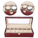 Caja de reloj de 6 cuadrículas, caja de almacenamiento de reloj de madera, caja de reloj de pulsera para mujer, caja de exhibición de joyas, 31 x 12 x 9 cm