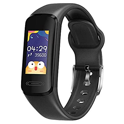 VIC1 Fitness Activity Tracker for Kids Teens with Body Temperature Heart Rate Blood Pressure Sleep Health Monitor IP68 Waterproof Pedometer Steps Calories Counter Watch (Black)