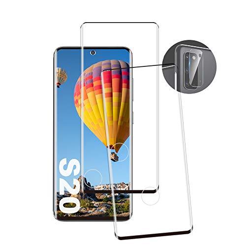 JingHuier Samsung S20 Panzerglas Schutzfolie, [2 Stück] [9H Festigkeit] [Anti-Fingerabdruck] [Keine Blasen] [Anti-Kratzen] [Ultra Klar] [Kameraschutzfolie] Panzerglasfolie für Samsung Galaxy S20