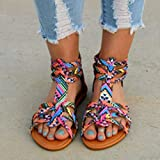 DZQQ Personalidad de Moda Sandalias de Estilo étnico de Gran tamaño para Mujer Sandalias Boho Zapatos de cuña para Mujer Sandalias