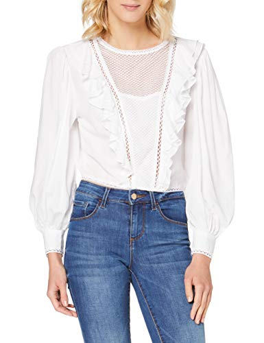 Guess LS Dafne Top Blusas, Bianco, S para Mujer