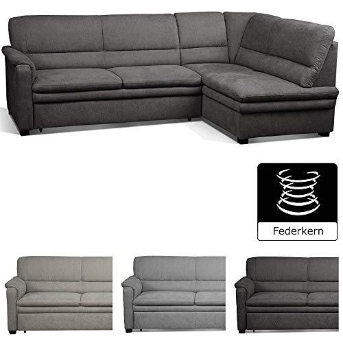 Cavadore Ecksofa Pisoo / L-Sofa mit hochwertigem Federkern im klassischen Design / Ottomane rechts / Größe: 245 x 89 x 161 cm (BxHxT) / Farbe: Grau (fango)