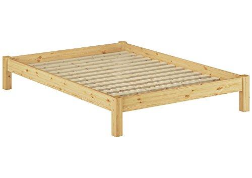Erst-Holz® Doppelbett Massivholzbett Kiefer Natur 140x200 Futonbett Jugendbett Einzelbett Rollrost 60.35-14