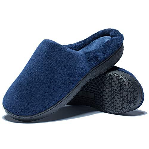 [hometool] スリッパ メンズ コットンスリッパ 室内履き スリッパ 暖かい ルームシューズ 来客用 自宅用 滑り止め 静音 軽量 洗えるスリッパ 26.0cm-26.5cm適用 ブルー