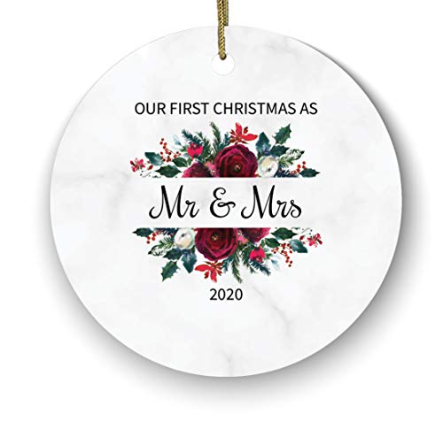 First Christmas as Mr & Mrs Ceramic Porcelain Ornament Watercolor Love Couple 1st Married Romantic Newlywed Just Newly Wed Tree Family Name Year First Christmas as Mr & Mrs, Marble Flower Floral 1st