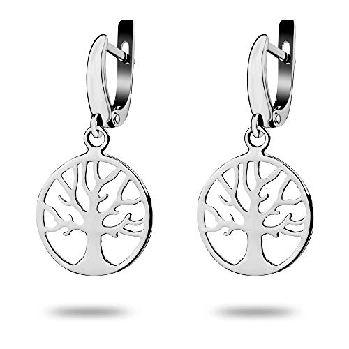 Celtic Tree of Life Small Dangle Earrings - 925 Sterling Silver Rhodium-plated - Family Amulet Viking Yggdrasil - Norse Buddhist Jewelry Gift for Women Girls Yoga Lovers - Handmade