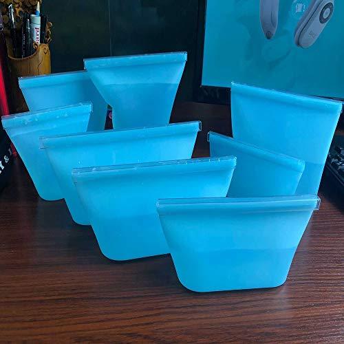 Undersea 8 Stks Siliconen Voedsel Opbergtas Verse Kom Koelkast Organizer Herbruikbare Stand Up Ritsen Sluit Zak Fruit Groente Cup Tas Met Seal Blauw