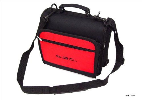Nieuwe schoudertas voor de Philips PET1002 draagbare DVD-speler van TGC ®, Jet Zwart & Crimson Rood