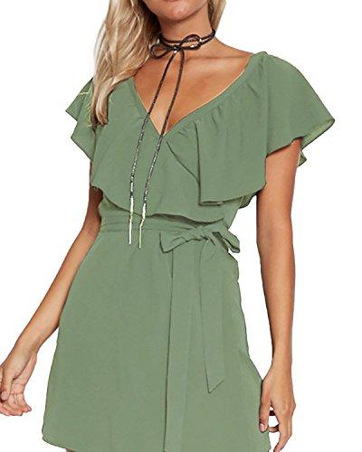 Yoins - Vestido de verano para mujer, corto, cuello en V,...