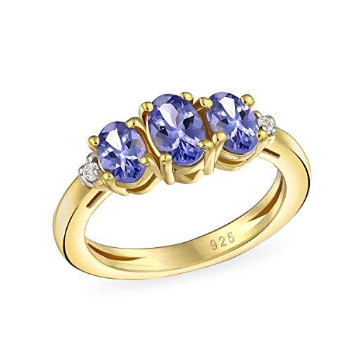 Óvalo Pasado Presente Futuro 3 Piedras Preciosas Tanzanite Púrpura Para Mujer Anillo Chapado En Oro Amarillo 14K 2Ct