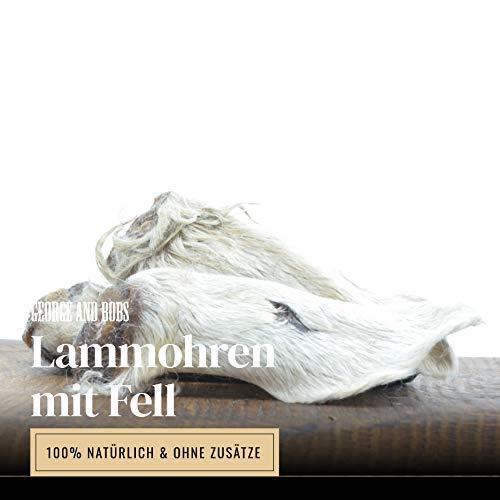 George & Bobs Lammohren mit Fell - 1000g | Schonendgetrocknete Ohren mit Fell und Muschel | Darmreinigung