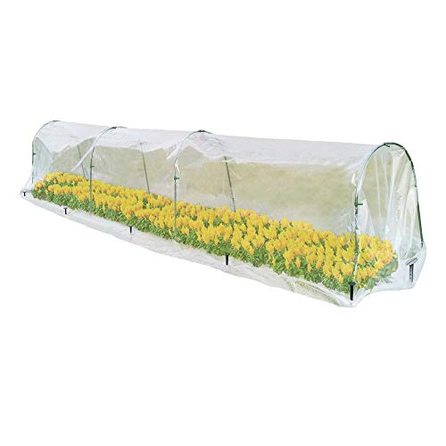 Mimeela Mini Row Greenhouses for Outdoors, Small Tunnel Greenhouse Hoop House for Plants Outdoor, Upgrade Green House Kit with Landscape Staples for Anchoring (22'(W) x 160'(L) x 20'(H))