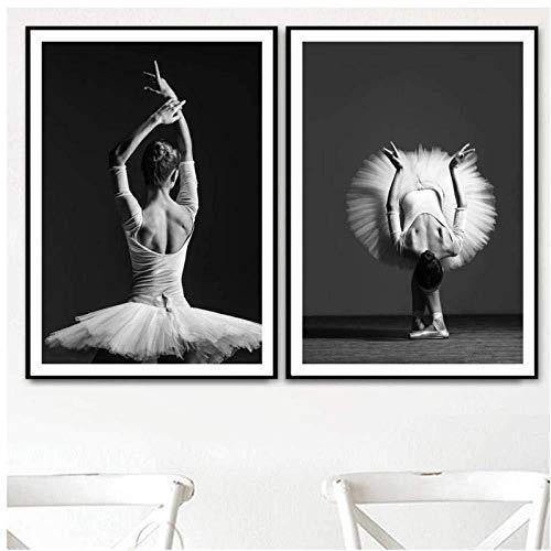 Generic Schwanensee Ballett Mädchen Figur Wandkunst Leinwand Malerei Poster Und Drucke Nordic Wandbild Für Wohnzimmer Wohnkultur 40x60 cmx2 Kein Rahmen