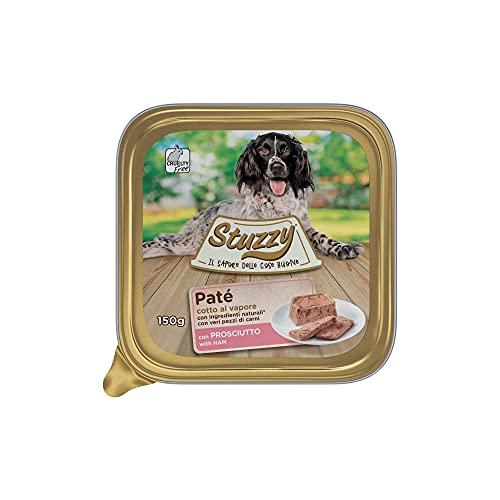 Mister Stuzzy, Cibo Umido per Cani Adulti al Gusto Prosciutto, Paté e Carni in Pezzi - Totale 3,3Kg (22 Vaschette da 150G)