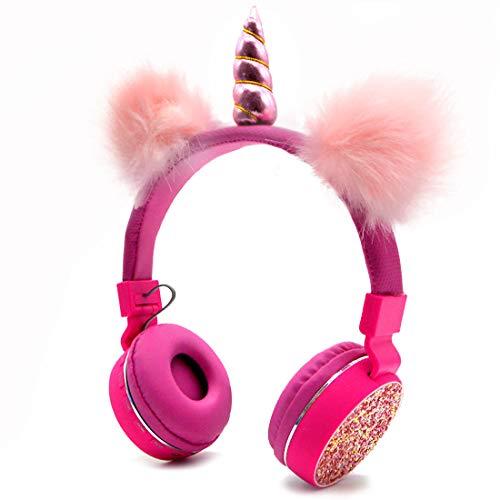 Auriculares Bluetooth 5.0 Unicornios con orejas de gato esponjosas para niños, diadema para niños, auriculares plegables con soporte recargable, tarjeta TF, FM, entrada auxiliar (rojo)