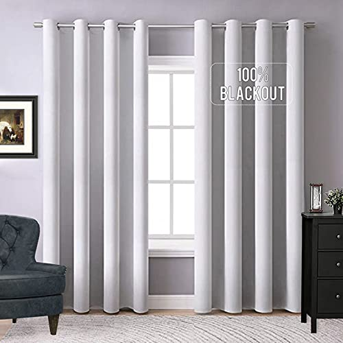 """MIULEE 100% Blackout Curtains Thermal Insulated Solid Grommet Curtains/Drapes/Shades for Bedroom Living Room 2 Panels, 52"""" x 72"""", Greyish White"""