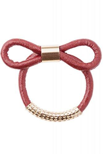 Anillo lazo de cuero marroquí Rojo, tamaño del anillo: 54
