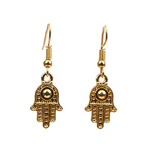Lumanuby 1 Paar Gold Fatimas Ohrringe für Halloween Party oder Tägliches Tragen Mysteriöser Osten Hand Anhänger Ohrstecker für Damen und Mädchen Geschenk für Liebhaber von Easten Kultur size 4*1.2CM