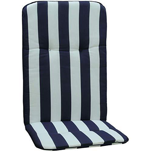 Stuhlkissen für Hochlehner mit Längstreifen in blau weiß