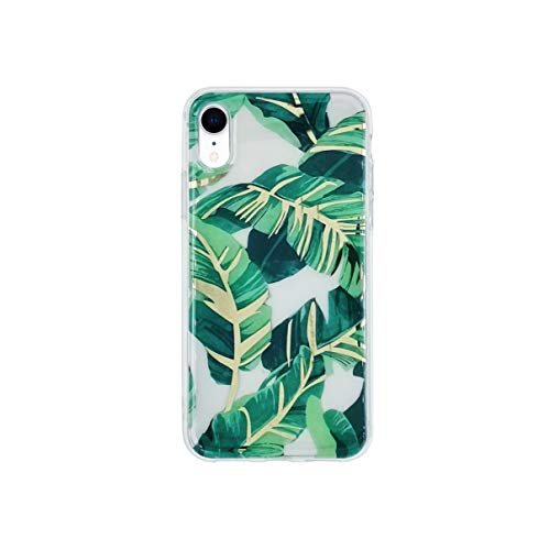 HolaStar Tropical Case for iPhone XR, Ultra Thin Glossy Green Palm Leaves with Gold Stem Cover