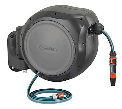 Gardena 8055 100 Foot Wall Mounted Retractable Reel with Hose Guide, ft, Grey