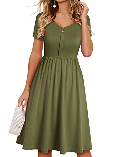 YATHON Summer Dresses for Women Short Sleeve V Neck Button Down A-Line Casual Dresses with Pockets (XL, 1-yt097-army Green)