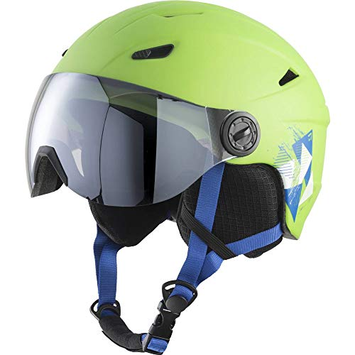 TECNOPRO Kinder Pulse S2 Visor HS-016 Skihelm, Green/Black/Blue, M