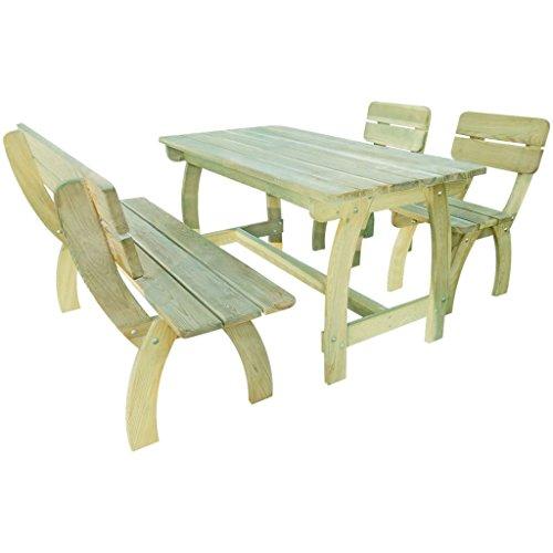 Lingjiushopping Table et banc de jardin 4 pièces en bois de pin imprégnée F ¨ ¢ Cil à chevaucher