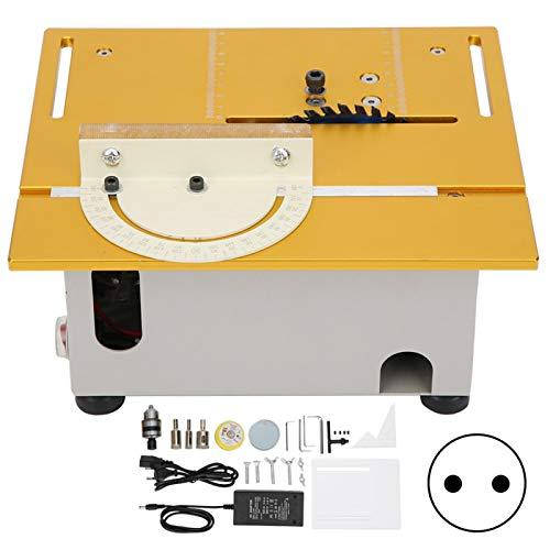Mini sierra de mesa, hobby sierra de mesa en miniatura sierra de mesa eléctrica sierra circular de escritorio para carpintería, manualidades((Enchufe de la UE))